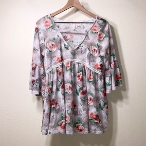 My Story Floral Hacci Bell Sleeve Top